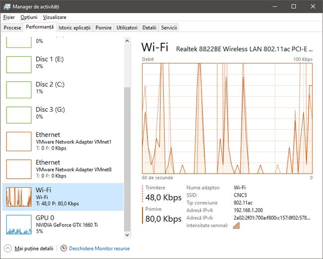 Secțiunea de rețele Wi-Fi din Managerul de activități