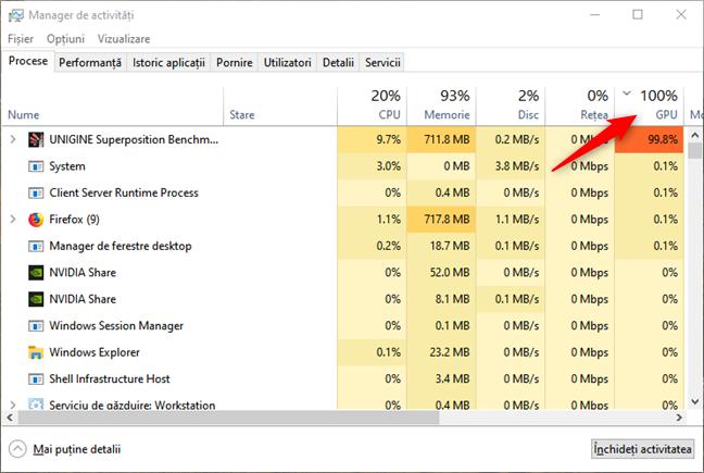 Sortarea aplicațiilor după utilizarea cipurilor grafice, în Managerul de activități