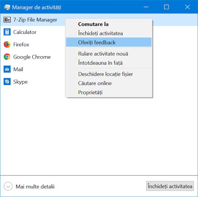 Oferă feedback despre aplicații în Windows 10