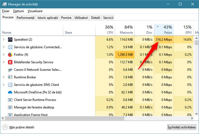 Identificarea aplicațiilor care transmit multe date, cu Managerul de activități