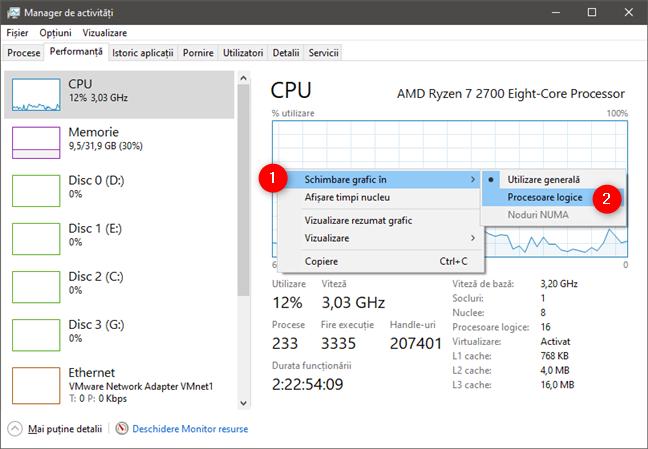 Managerul de activități poate să îți arate procesoarele logice din CPU
