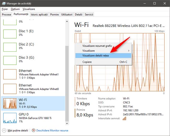 Vizualizare detalii rețea afișează multe informații despre rețele