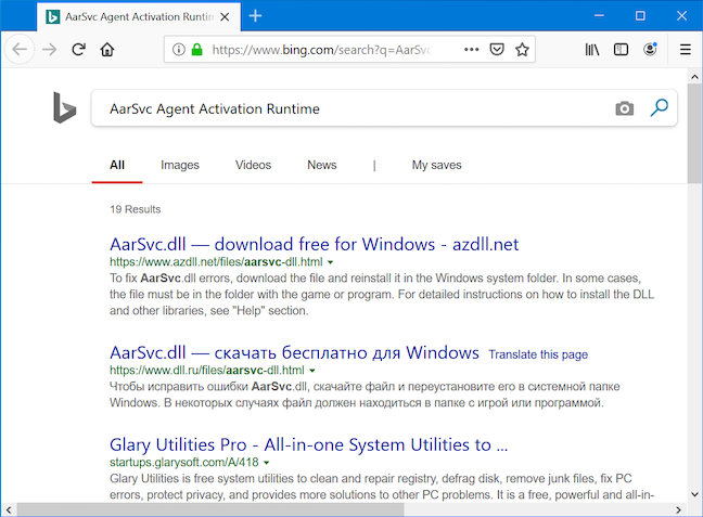 Browserul tău caută pe Bing numele serviciului și descrierea