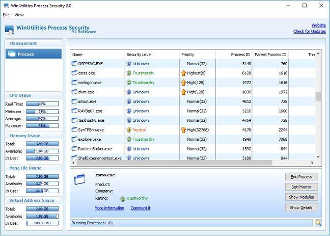 Task Manager, alternatives, Windows, Process Explorer, Process Hacker, System Explorer, Daphne, WinUtilities Process Security