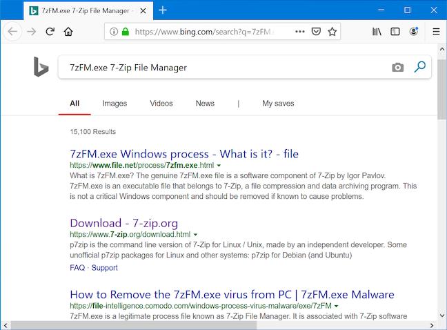 Browserul tău caută pe Bing numele procesului