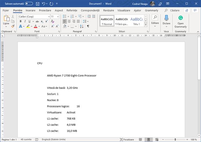 Lipirea informațiilor copiate, într-un editor text precum Word