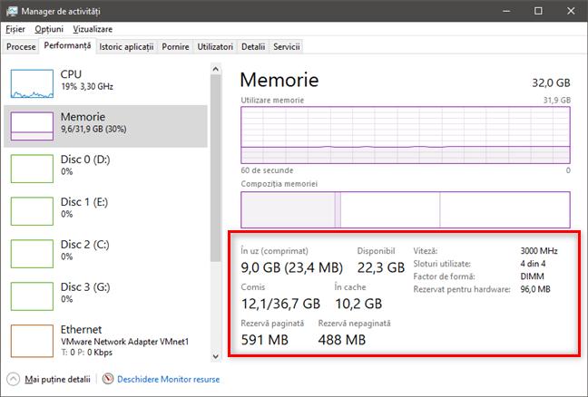 Secțiunea Memorie îți dă detalii despre utilizarea și specificațiile RAM
