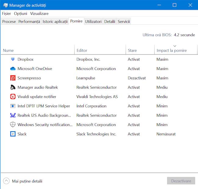 Fila Pornire în Managerului de activități din Windows 10