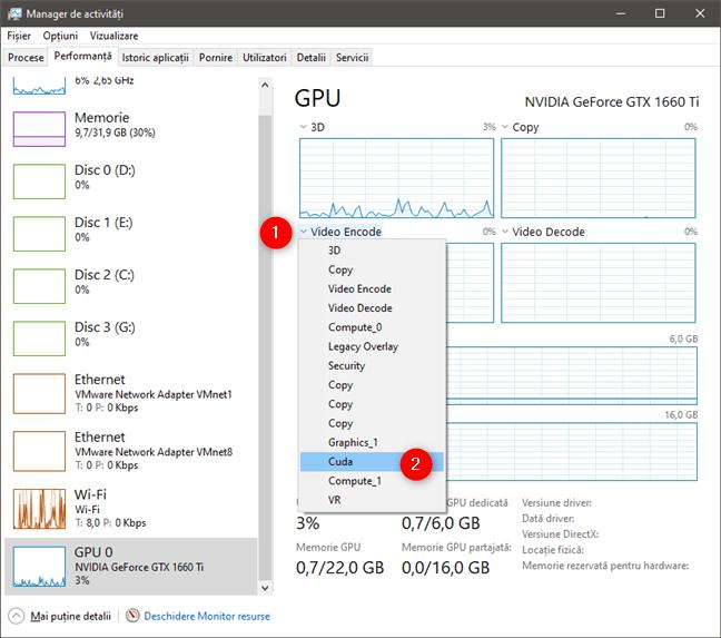 Graficele din secțiunea GPU pot fi personalizate