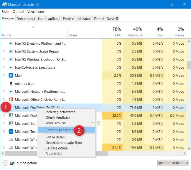 Creează un fișier dump folosind Managerul de activități