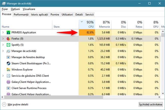 Identificarea aplicației din Windows 10 care consumă tot procesorul