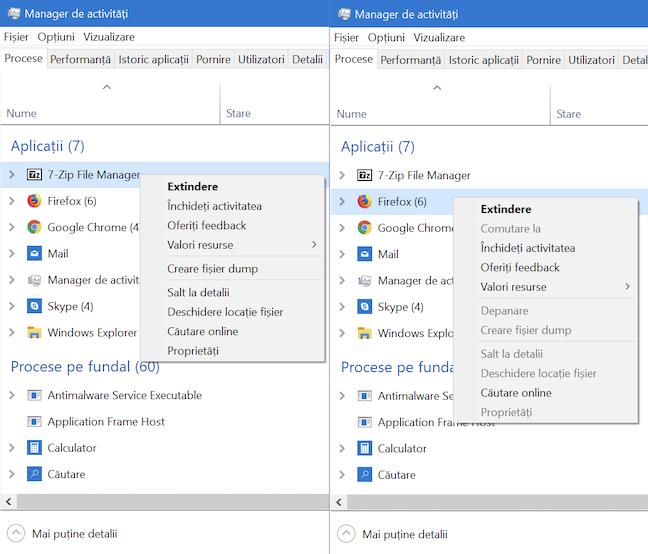 Aplicația aleasă de noi pentru acest ghid, 7-Zip comparată cu Firefox, cu opțiuni dezactivate