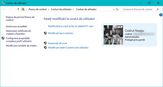 Secțiunea Conturi de utilizator din Panoul de control