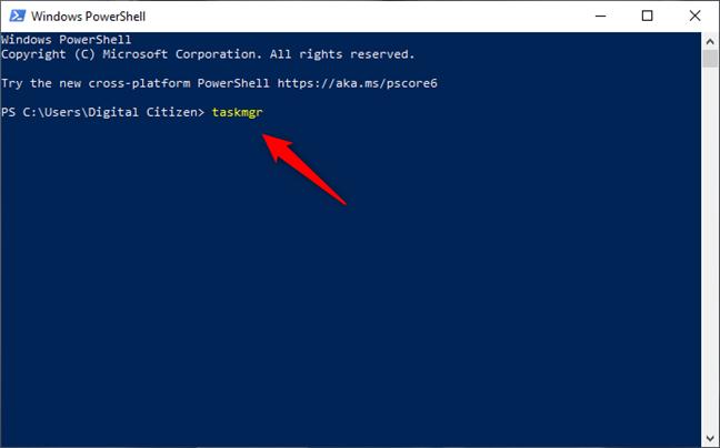 Executarea comenzii taskmgr în PowerShell