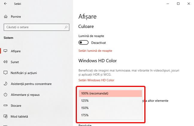 Setează mărimea fontului în Windows 10