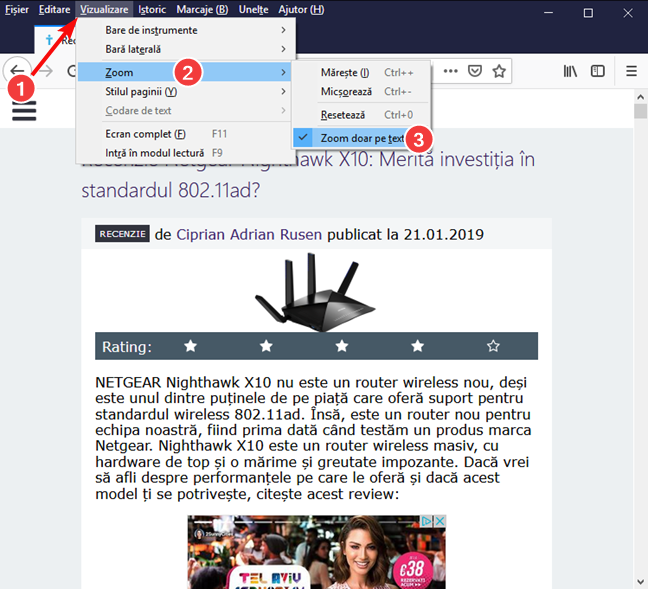 Setează Zoom doar pe text în Mozilla Firefox