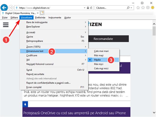 Schimbă mărimea textului în Internet Explorer