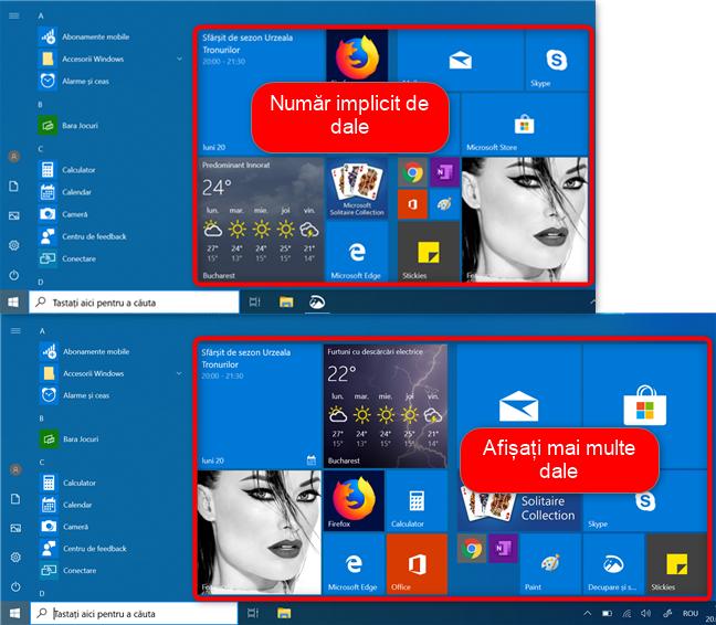 Meniul Start din Windows 10 cu numărul implicit de dale și cu mai multe dale