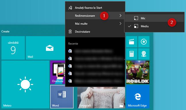 Redimensionarea unei scurtături din Meniul Start din Windows 10