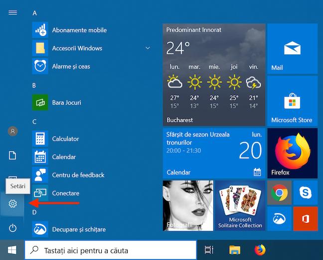 Accesează Setări din Meniul Start în Windows 10