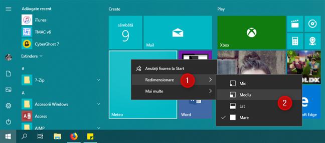 Redimensionarea unei dale din Meniul Start din Windows 10