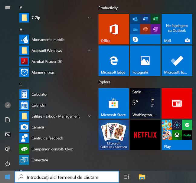 Aspectul implicit al Meniului Start din Windows 10