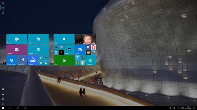 Windows 10, Meniul Start, ecran