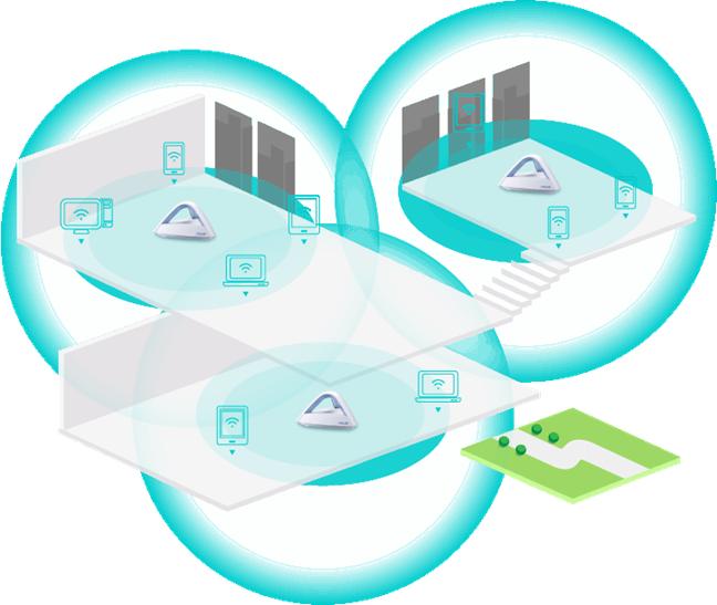 O rețea mesh Wi-Fi formată din dispozitive ASUS Lyra Trio