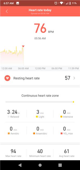 Detalii despre ritmul cardiac măsurat, în aplicația Mi Fit