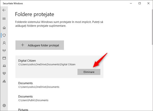 Eliminarea unui folder din lista de protecție împotriva ransomware
