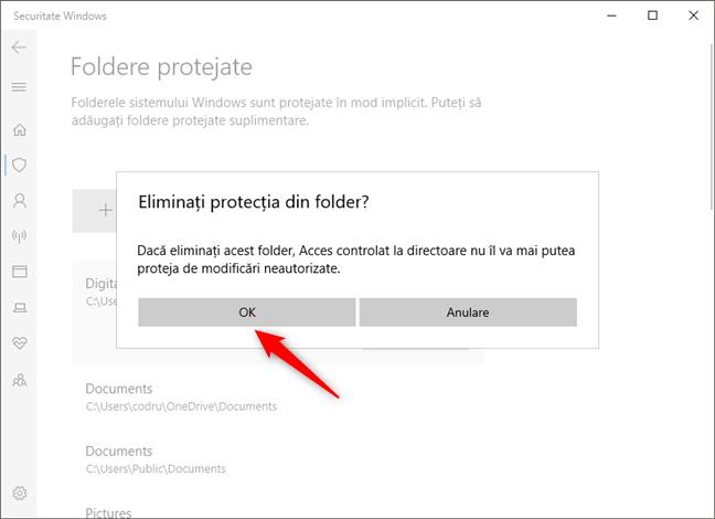 Confirmarea eliminării unui folder din lista de protecție împotriva ransomware