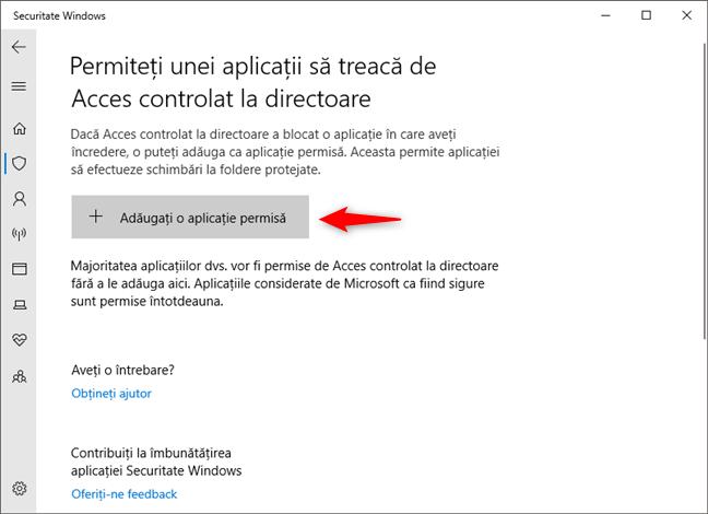 Permiterea trecerii unei aplicații de Acces controlat la directoare