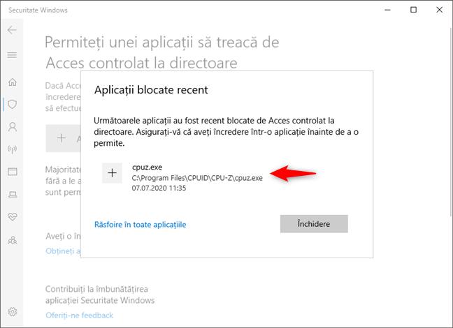 Permiterea unei aplicații de a trece de Acces controlat la directoare din Windows 10