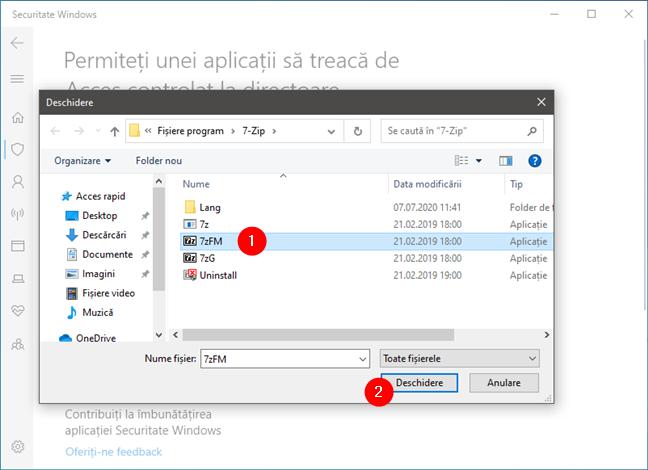 Selectarea unei aplicații căreia îi este permis să facă modificări în folderele protejate