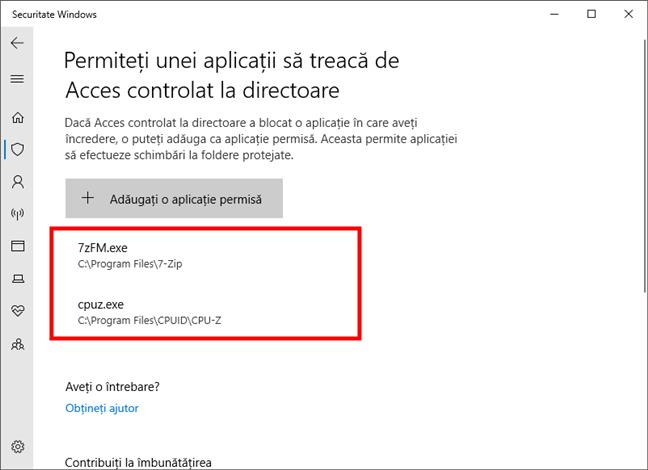 Aplicații permise în Acces controlat la directoare