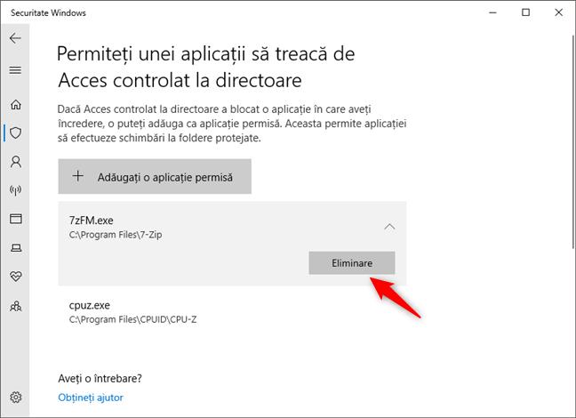 Eliminarea unei aplicații din lista Acces controlat la directoare