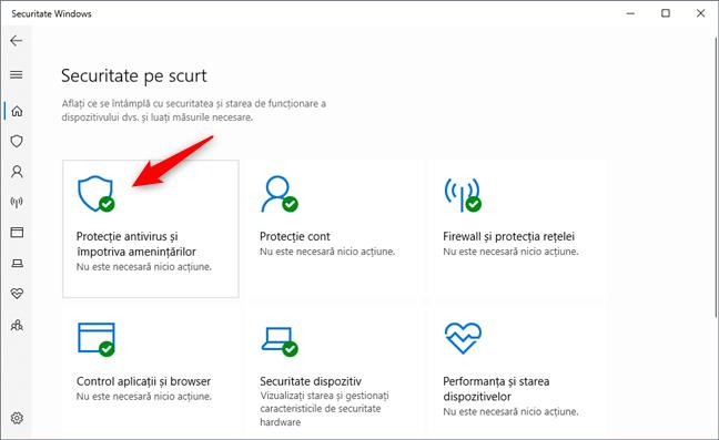 Protecție antivirus și împotriva amenințărilor în Securitate Windows