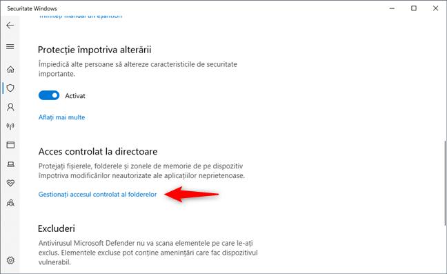 Linkul Gestionați accesul controlat al folderelor din Acces controlat la directoare