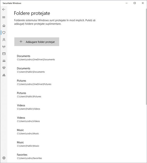 Lista de foldere protejate de Windows 10 împotriva ransomware