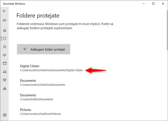 Folderul selectat este acum protejat împotriva ransomware