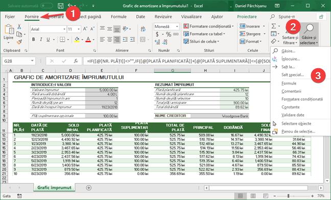 Alege Salt special în Microsoft Excel