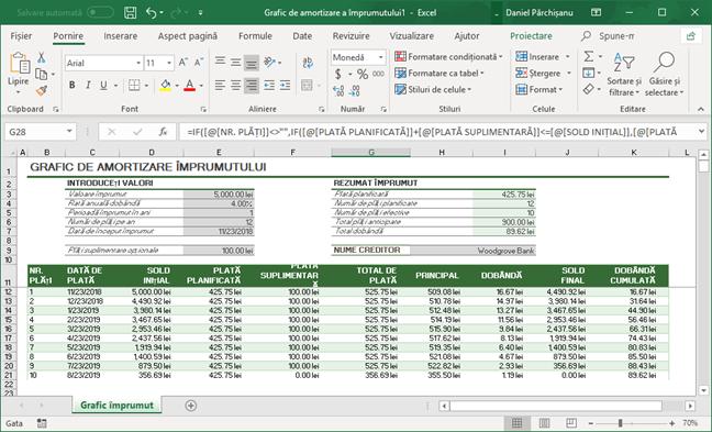 Foaie de calcul în Microsoft Excel unde vrem să păstrăm doar formulele