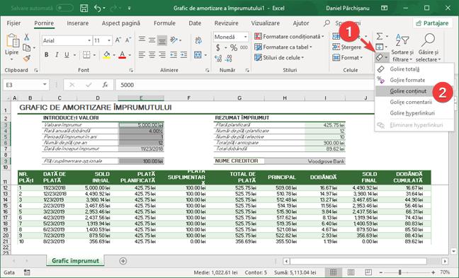 Golește conținut în Microsoft Excel