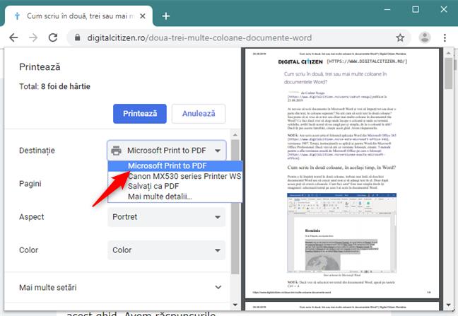 Selectarea imprimantei Microsoft Print To PDF din Google Chrome