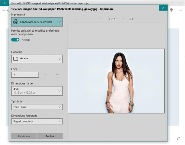 Dialogul Imprimare din aplicația Fotografii din Windows 10