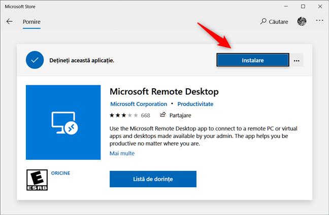 Instalarea clientului Microsoft Remote Desktop