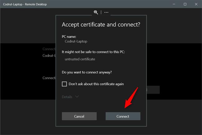Acceptarea certificatului și conectarea