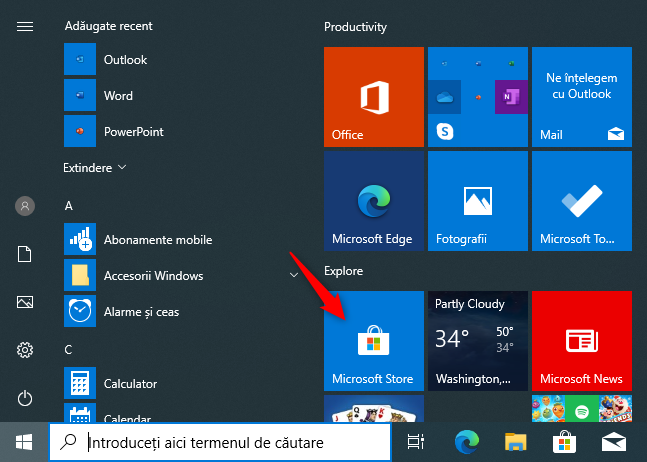 The Microsoft Store tile on the Start Menu