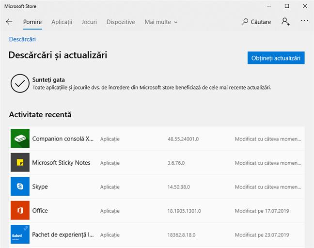 Toate actualizările au fost instalate de către Microsoft Store