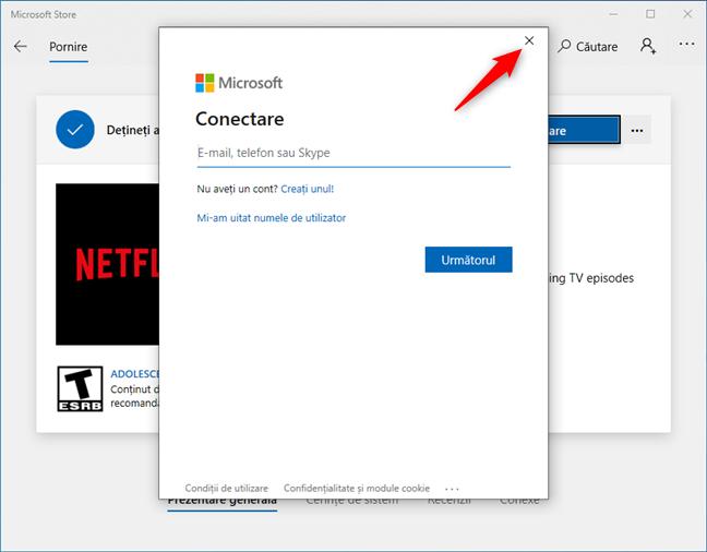 Închiderea casetei de conectare (cu un cont Microsoft)